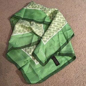 COACH 100% Silk Handkerchief SCARF *Green Logo*